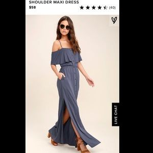 NWT Lulu's off shoulder maxi dress Small Button